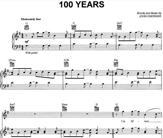 Five For Fighting – 100 Years Piano Sheet Music