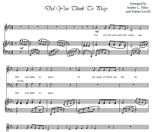 Amber Tilley – Did You Think to Pray? Piano Sheet Music