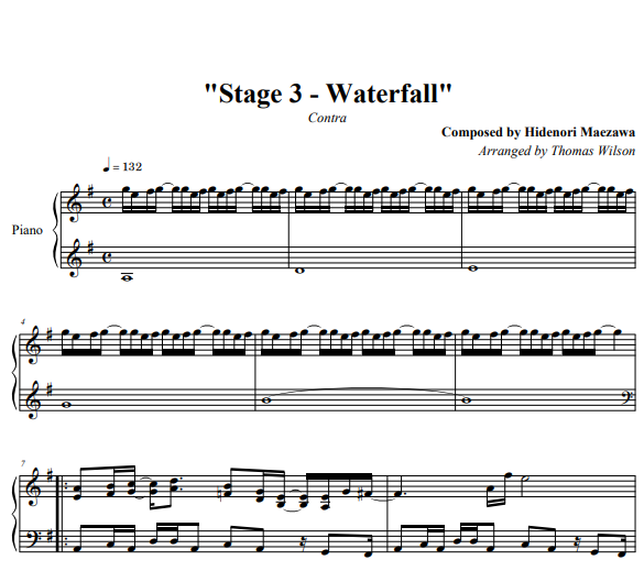 Contra – Stage 3 – Waterfall Piano Sheet Music