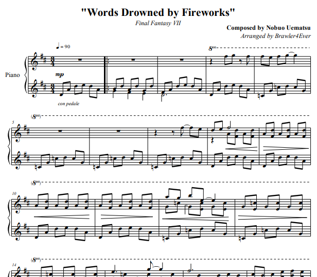 Final Fantasy VII – Words Drowned by Fireworks Piano Sheet Music