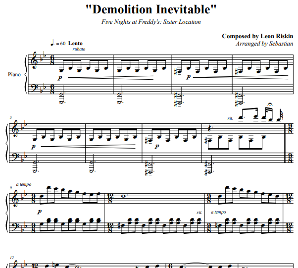 Five Nights at Freddy's: Sister Location – Demolition Inevitable Piano Sheet Music