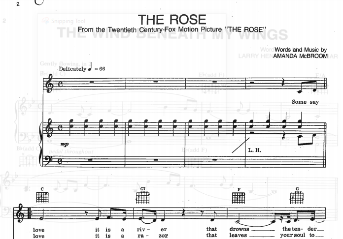 Bette Midler – The Rose Piano Sheet Music
