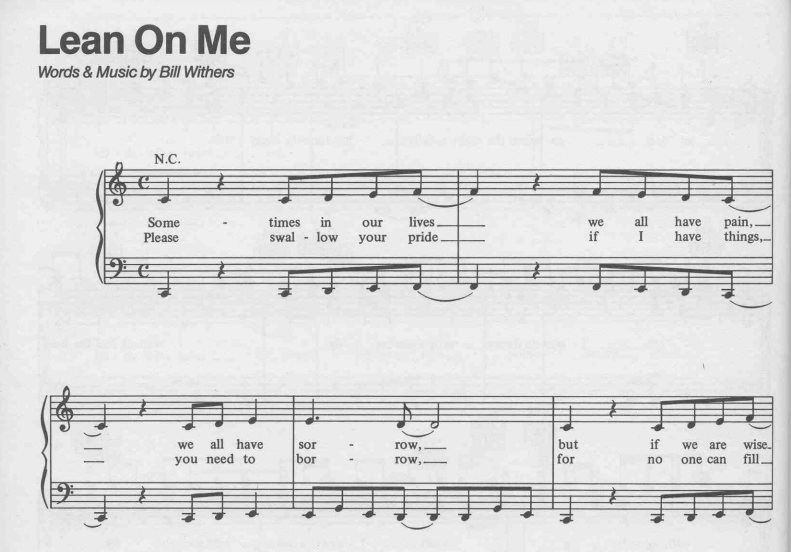 Bill Withers – Lean On Me Piano Sheet Music